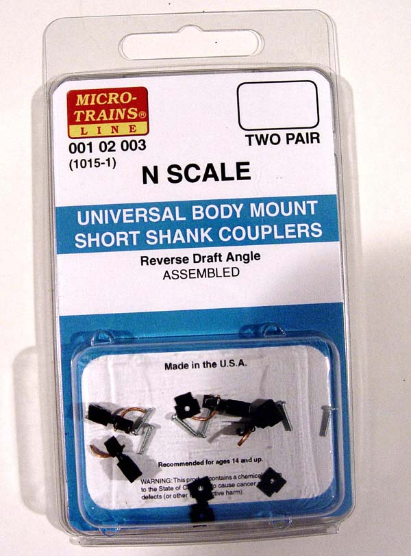Micro-Trains N 1015-1 Universal Body Mount Short Shank Couplers.